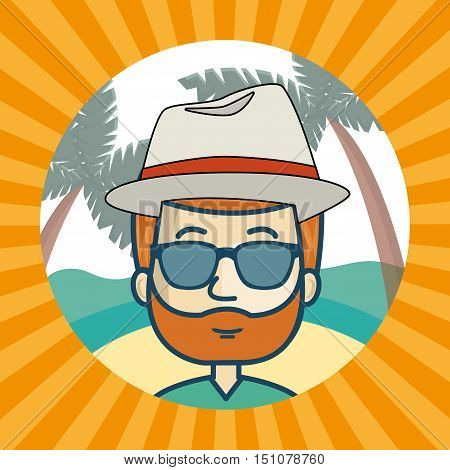 avatar man wearing sunglasses and hat  inside of beach circle and over yellow and orange striped background. vector illustration