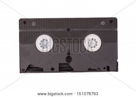 Video old cassette isolated on white .