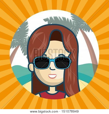avatar man wearing sunglasses inside of beach circle and over yellow and orange striped background. vector illustration