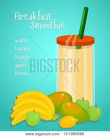 Lunch smoothie. Blended fresh fruity drink in glass with straw from water, banana, mango, apple, lemon fruits vector illustration on blue background. Healthy vegetarian breakfast. Diet food menu. Milk shake or milk coctail.