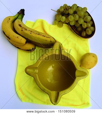 Predominantly yellow.  Set of food or objects that we use regularly.