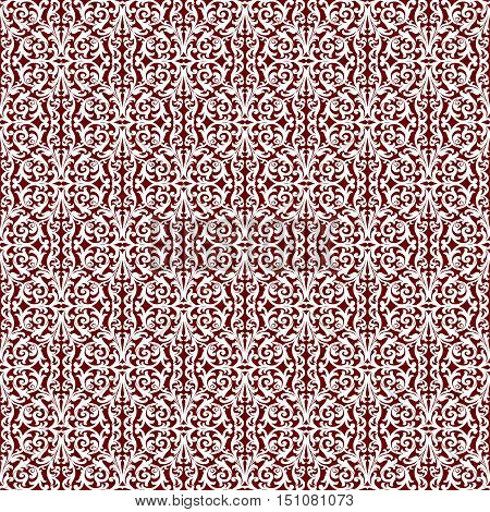 Sophisticated seamless abstract pattern on the maroon background