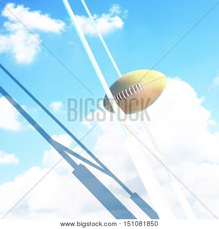 Ball and Goal posts for rugby at sky. 3D illustration