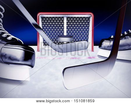 Ice hockey. The puck flies from blow by a hockey stick to hockey gate. 3D illustration