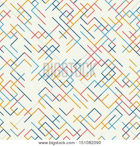 Abstract geometric background. Abstract technology pattern with colorful geometric shapes in tessellation. Linear abstract lattice random coloring. Vector seamless linear pattern.