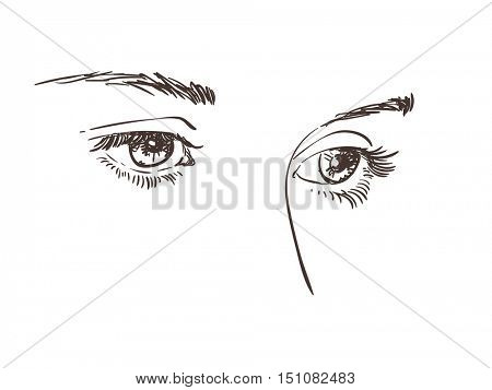 Thoughtful beautiful eyes of young girl, Vector sketch, Hand drawn illustration