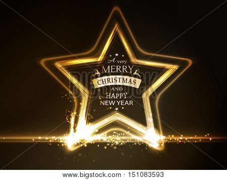 Overlying semitransparent stars with light effects form a golden glowing star frame with the wording Merry Christmas and Happy New Year on dark brown background.