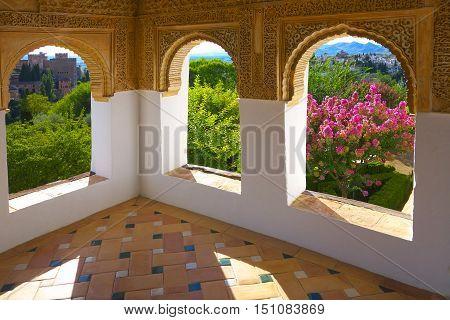 Moorish architecture in Generalife Gardens (protruding viewing chamber of walking mall).