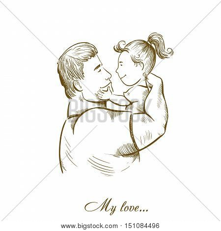 dad and daughter. fatherhood and childhood. paternal feelings. love for children. vector characters on a white background