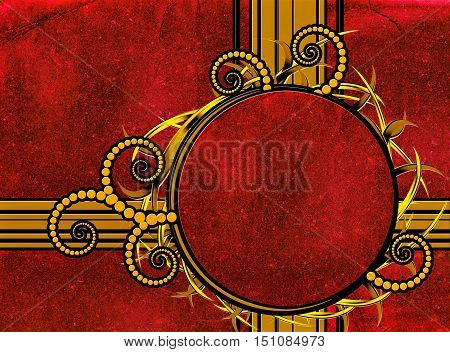 Abstract retro background with round gold frame