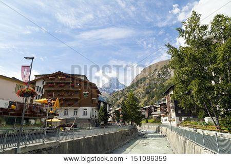 ZERMATT, SWITZERLAND - Sep 12: Zermatt district in Switzerland on Sep 12, 2016. Zermatt is a municipality in Switzerland which this shot can see one of the most famous mountain - The Matterhorn.