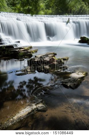 a long exposure at Monsal Dale Weir at the River Wye in the Peak District Derbyshire