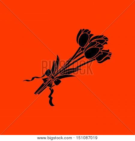Tulips Bouquet Icon With Tied Bow