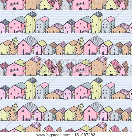 Cute naive house (city) seamless multicolored vector pattern with stripes. Kids style drawing.