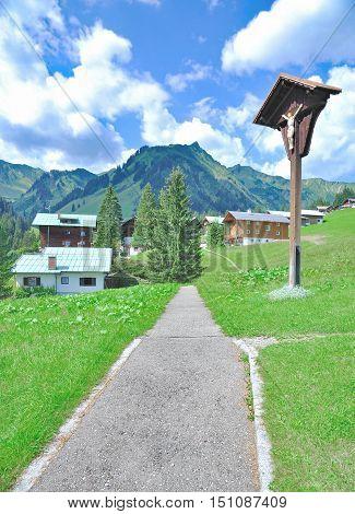 Village of Baad near Mittelberg in Kleinwalsertal in Vorarlberg,Alps,Austria