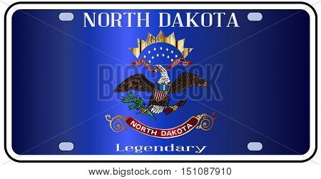 North Dakota license plate in the colors of the state flag with the flag icons over a white background