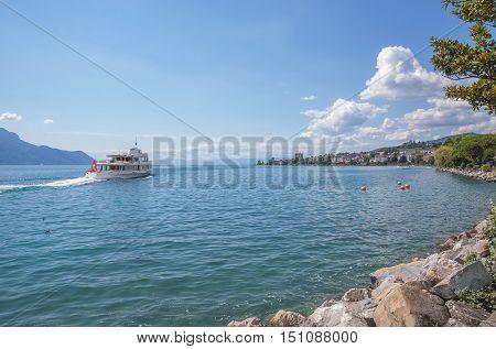 View from Promenade at Lake Geneva near Montreux,Switzerland
