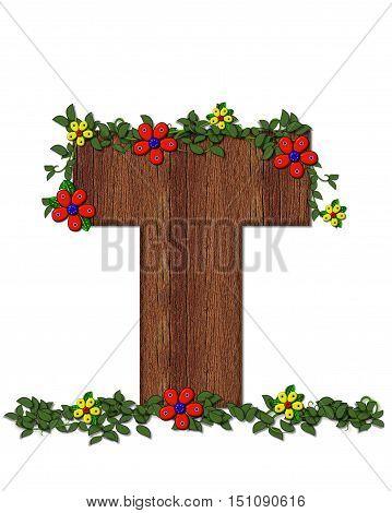 Alphabet Woodland Flowers T