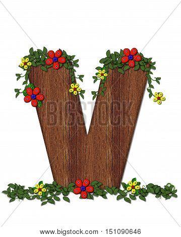 Alphabet Woodland Flowers V