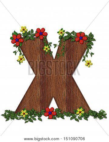 Alphabet Woodland Flowers X