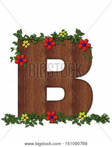 Alphabet Woodland Flowers B