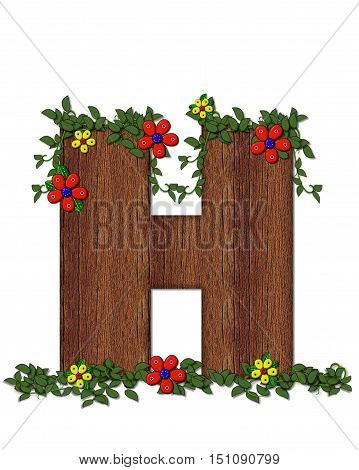 Alphabet Woodland Flowers H