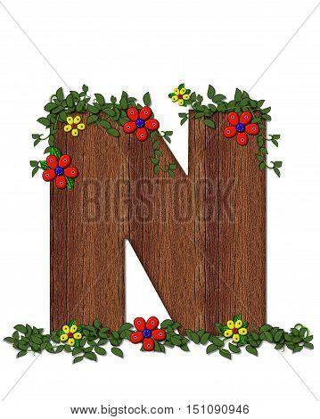 Alphabet Woodland Flowers N