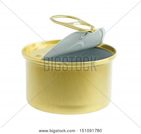 An Opening Aluminum Food Can isolated on white background