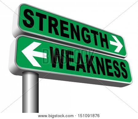 strength or weakness strong or weak points overcome problems accept the challenge to success 3D illustration, isolated, on white poster