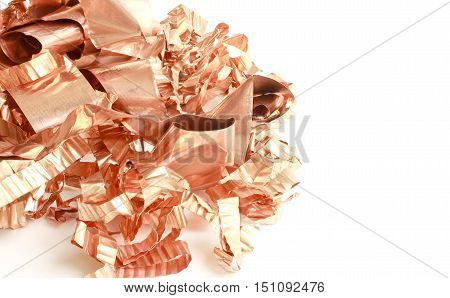 Copper Scrap from XLPE Cable on white background