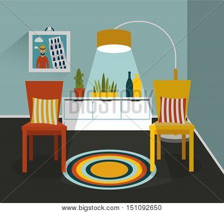 Retro interior design. Living room. Flat design.