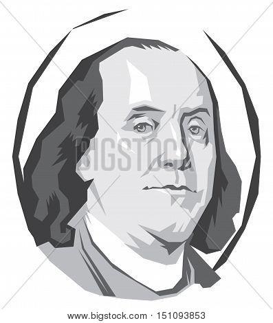 vector portrait Benjamin Franklin in black and white