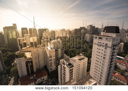 Aerial View of Buildings of Sao Paulo by Sunrise