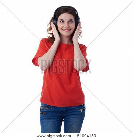 Smiling young woman in casual clothes over white isolated background with headphones, happy people, music, technology, resting concept