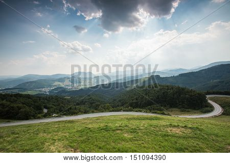 The road at the pass to the Dobsice city in Slovakia