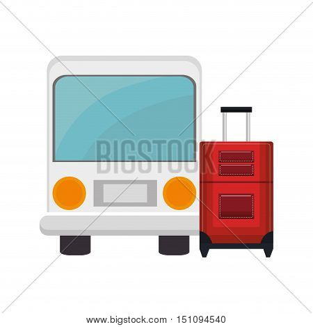 bus vehicle and travel suitcase icon over white background. vector illustration