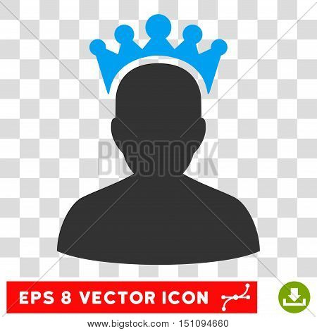 Vector King EPS vector pictograph. Illustration style is flat iconic bicolor blue and gray symbol on a transparent background.