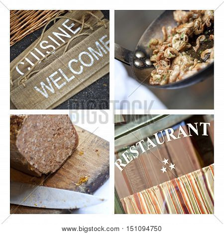 French Bistro Signs And Dishes
