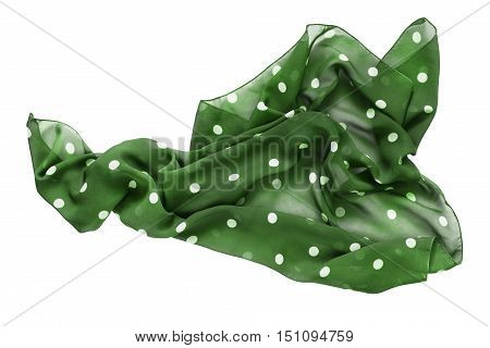 Crumpled green polka dots kerchief isolated over white