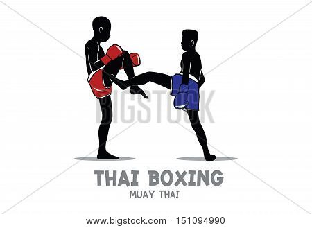 Thai boxing (Muay Thai) vector isolated on white background, Red and Blue Fight Fighter