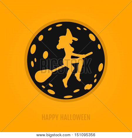 Happy halloween concept with moon and witch on a broomstick. Night party design for banner, web graphics, wallpaper, page background, invitation, greeting card, flyer, poster templates.Vector Illustration 31 october.