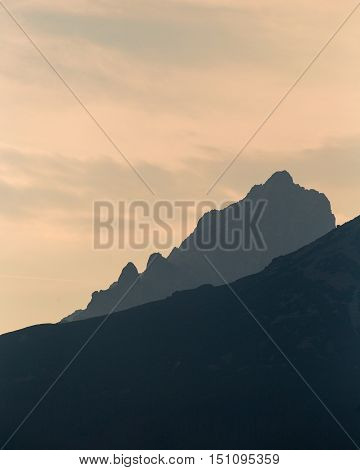 Highlighted rocky peaks of mountains, Tatra mountains