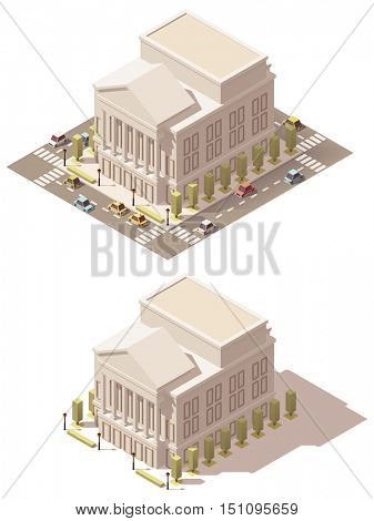 Vector isometric low poly Opera theater building