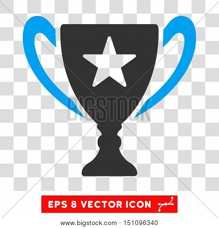 Vector Trophy EPS vector pictogram. Illustration style is flat iconic bicolor blue and gray symbol on a transparent background.