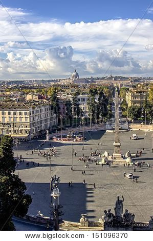 view of Piazza del Popolo with the dome of St. Peter's Basilica