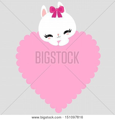 Cute little bunny with pink heart. I love you. Happy Valentine's Day. Greeting card.