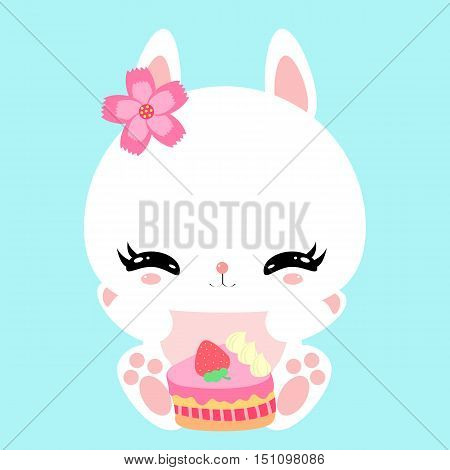 Cute little bunny with a celebratory cake. Happy birthday. Print. Poster. Greeting card. Children's character.