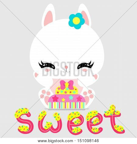 Little cute white bunny with a cake on a rainbow. Magic world. Birthday. Greeting card. Children's poster.