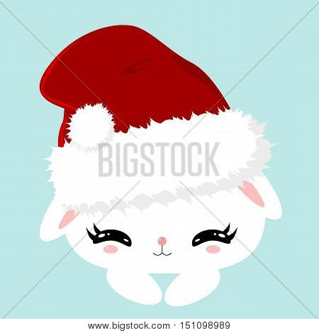 Christmas white fluffy cute bunny. Children's character. New Year poster. Bunny in a Santa Claus hat.