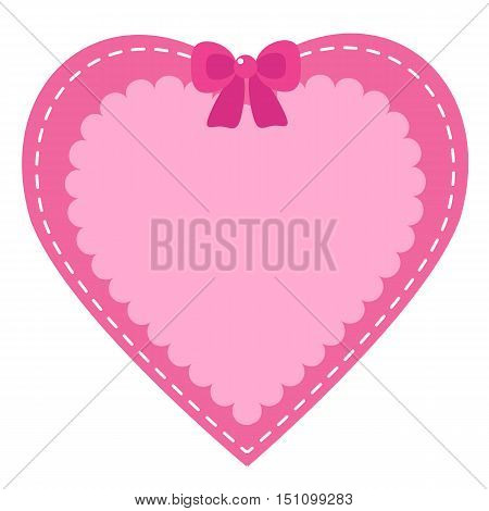 Pink heart. I love you. Happy Valentine's Day. Greeting card.